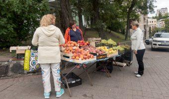 Photograph of a fruit stall in Kiev, Ukraine. Taken on Heroyiv Nebesnoyi Sotni Alley, near the entrance to Khreshchatyk Metro Station.