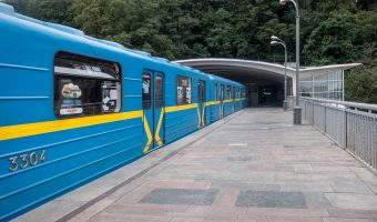 Train in tunnel at Dnipro Metro Station in Kiev.