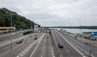 Photo of the Dnieper River and Naberezhne Highway in Kiev. Taken from Dnipro Metro Station.