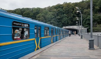 Passengers waiting to board a train at Dnipro Metro Station in Kiev, Ukraine.