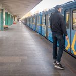 Passengers waiting to board a train at Hydropark Metro Station in Kiev, Ukraine.
