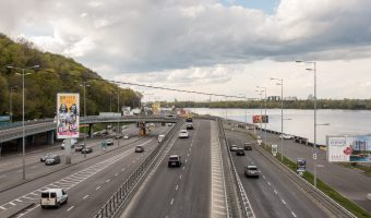 View of Naberezhne Highway and the Dnieper River. Photograph taken from Dnipro Metro Station.