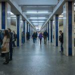Photo of the platform at Poshtova Ploshcha Metro Station in Kiev, Ukraine.