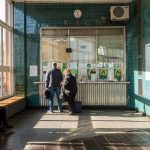 Ticket office atShuliavska Metro Station in Kiev, Ukraine.