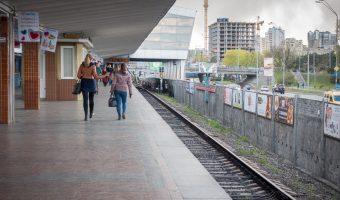 Passengers on the platform at Darnytsia Metro Station.