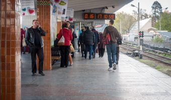 Photo of the platform at Darnytsia Metro Station in Kiev, Ukraine.