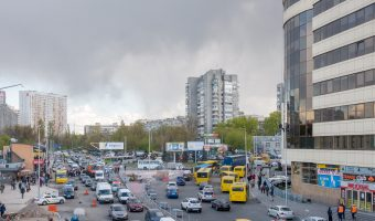 View of Raisy Okipnoi Street from Livoberezhna Metro Station.