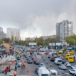 View of Livoberezhna district from Livoberezhna Metro Station.
