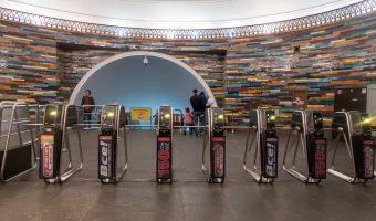 Ticket barrier/turnstiles at Khreshchatyk Metro Station in Kiev, Ukraine.