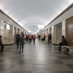Central hall at Khreshchatyk Metro Station in Kiev, Ukraine.