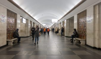 Central hall at Khreshchatyk Metro Station in Kiev, Ukraine.