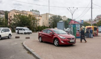 Photo of a taxi waiting near Palats Ukrayina Metro Station in Kiev, Ukraine.