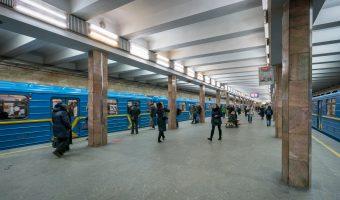 Trains at Kontraktova Ploshcha Metro Station in Kiev, Ukraine.