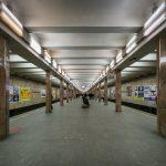 Platform at Kontraktova Ploshcha Metro Station in Kiev, Ukraine.