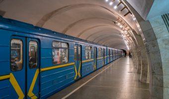 Train at platform of Lybidska Metro Station in Kiev, Ukraine.
