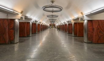 Photograph of the central hall at Palats Ukrayina Metro Station in Kiev, Ukraine.