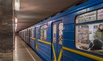 Photograph of a train at Tarasa Shevchenka Metro Station in Kiev, Ukraine.